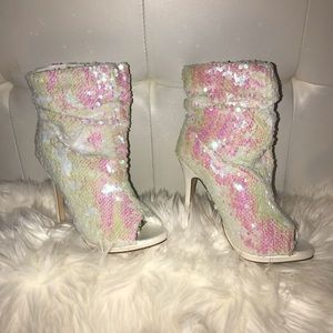 Liliana Shoes - Iridescent White Sequin Booties!